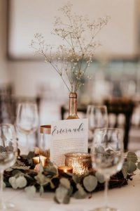 sage and metallic gold fall wedding centerpiece