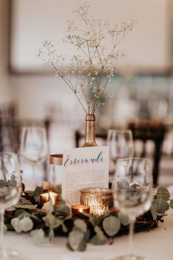 sage and metallic gold fall wedding centerpiece