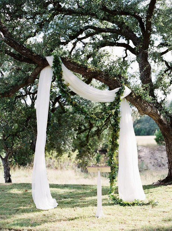 simple wedding altar ideas with white drapery