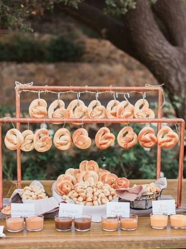 soft pretzels bar for rustic outdoor weddings