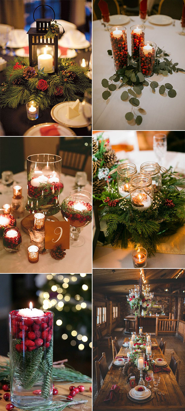 Christmas themed winter wedding centerpiece ideas