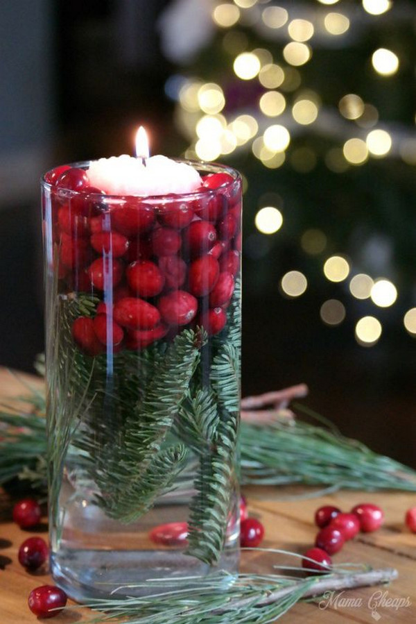 Christmas themed winter wedding centerpiece
