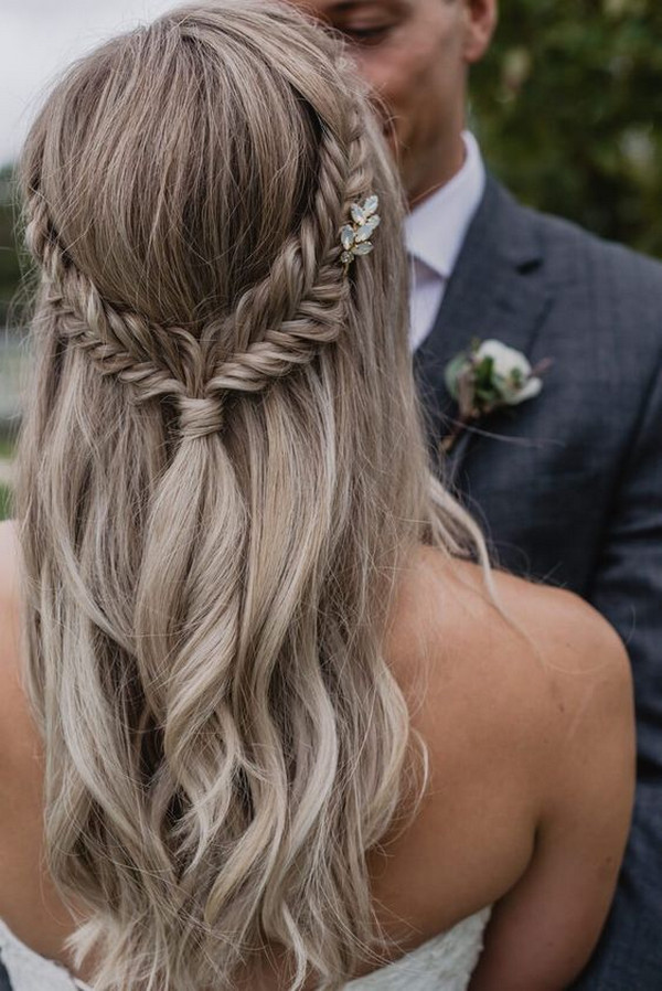 Fishtail braid half up half down wedding hairstyle