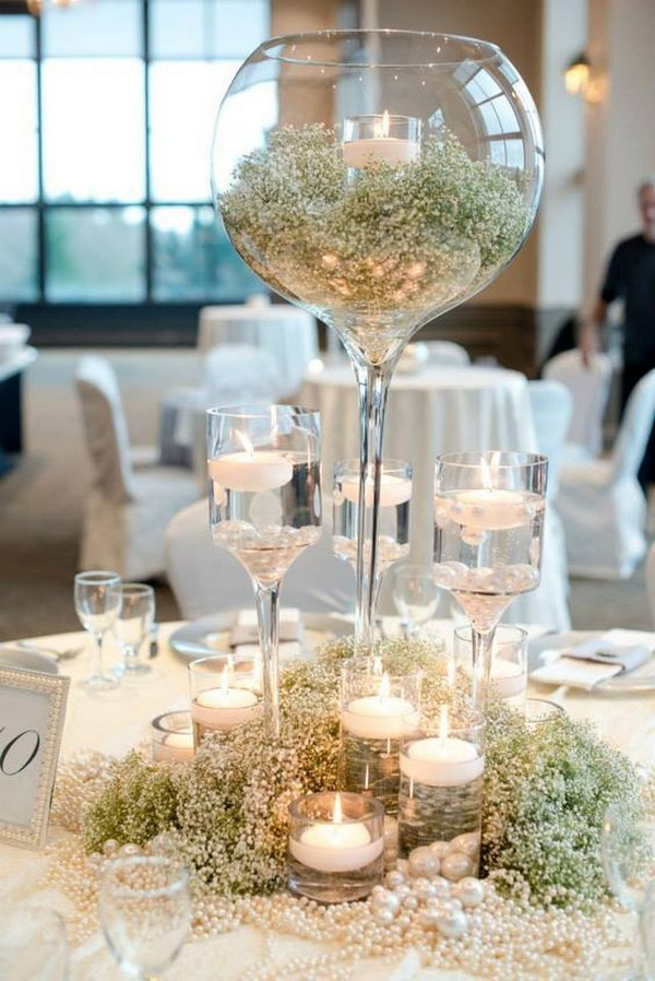 baby's breath winter wedding centerpiece ideas with candles