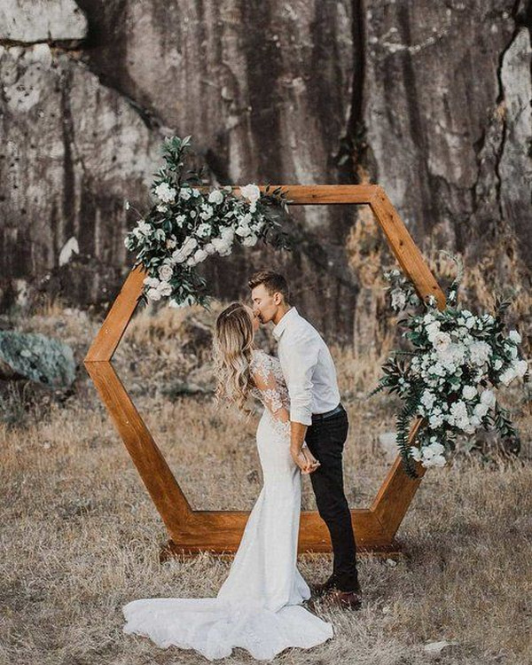 boho chic geometric wedding arch