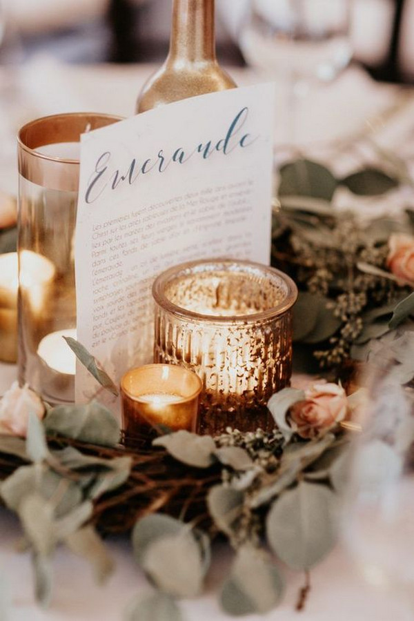 boho chic winter wedding centerpiece ideas