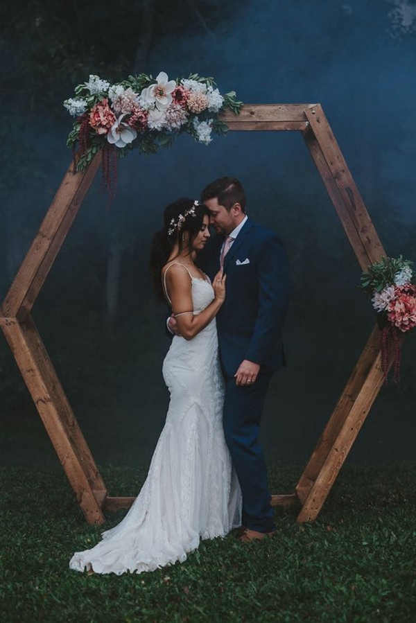 boho hexagonal wedding ceremony backdrop ideas with floral