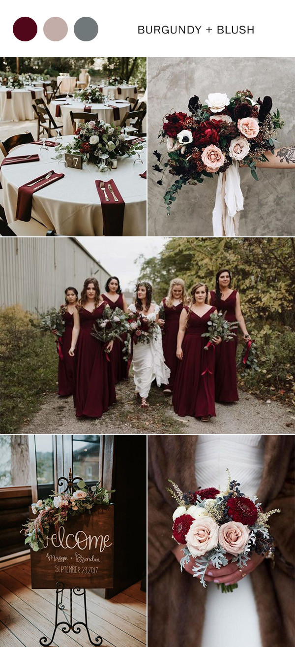 burgundy and blush wedding color ideas