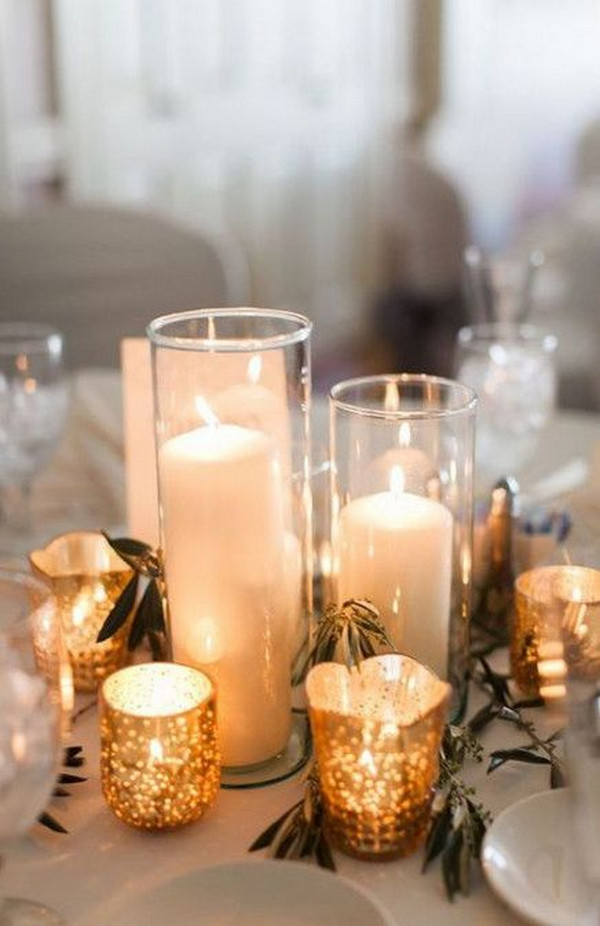 candles winter wedding centerpiece ideas