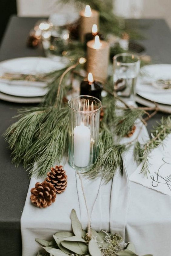 chic winter wedding table setting ideas