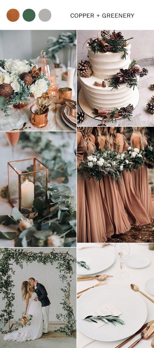 copper and greenery winter wedding color ideas