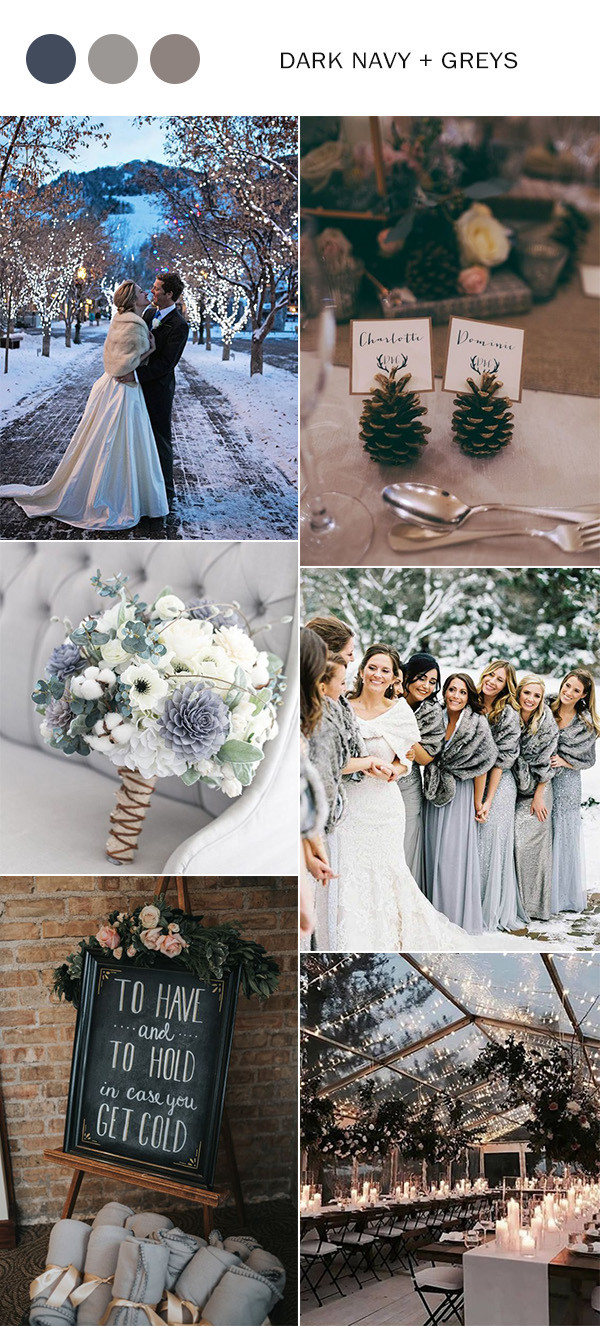 dark navy and greys winter wedding color ideas