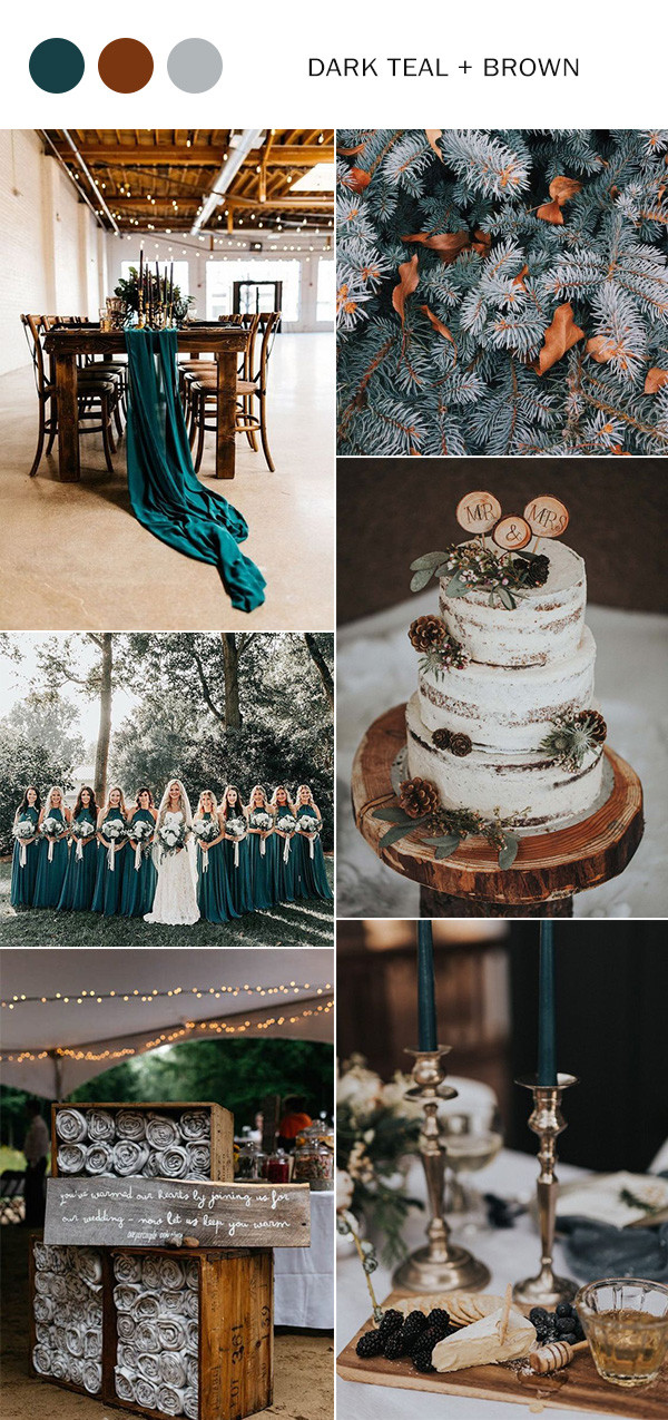 dark teal and brown rustic winter wedding color ideas
