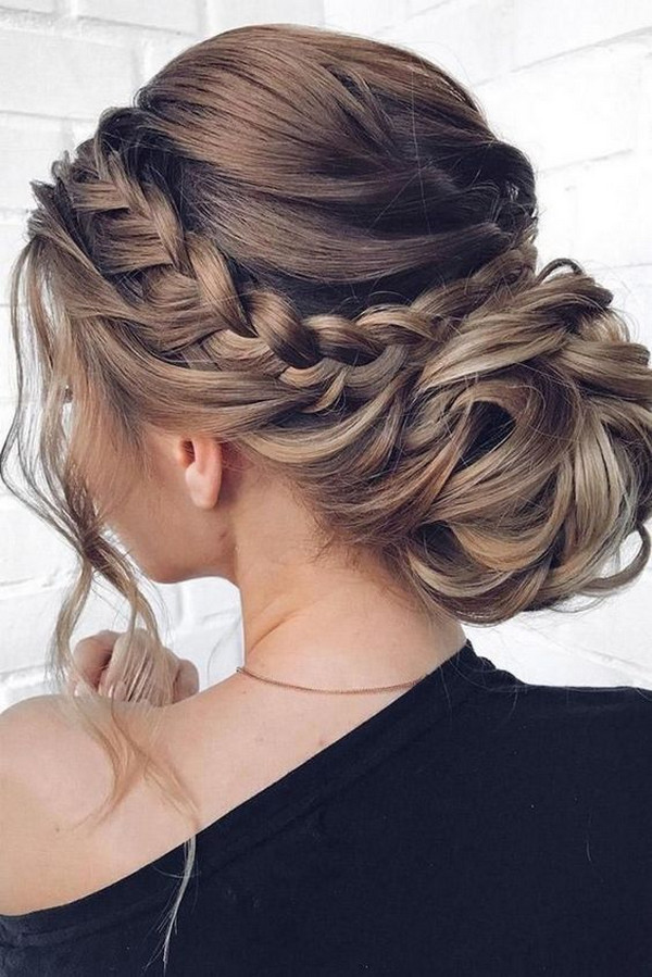 gorgeous braided updo wedding hairstyle