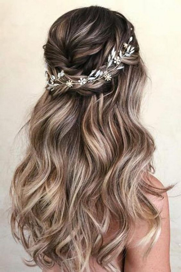 half up half down braided pretty wedding hairstyle