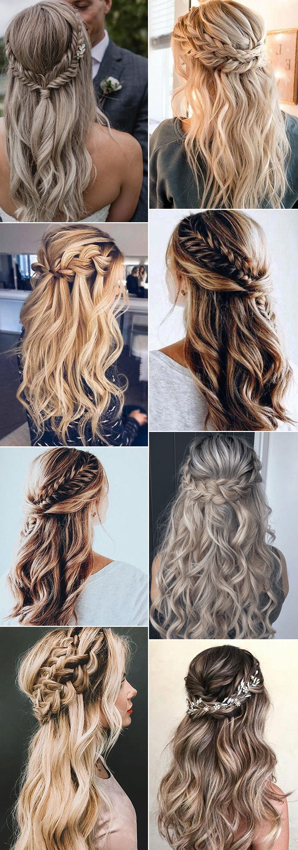 half up half down braided wedding hairstyles for 2020