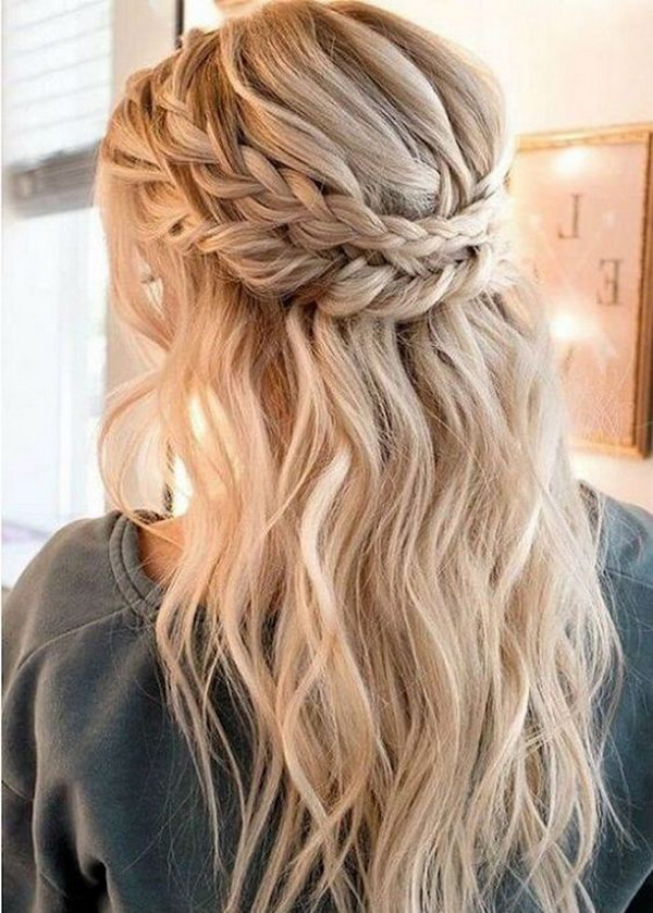 half up half down wedding hairstyle with braids
