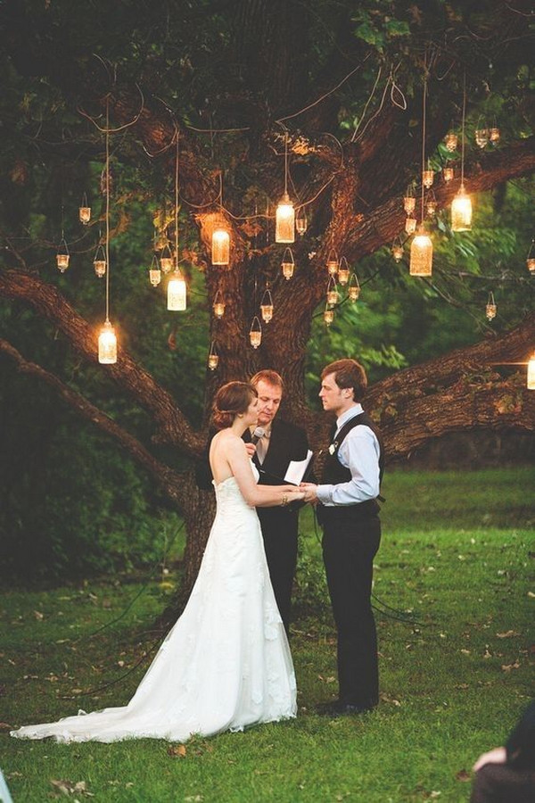hanging lights wedding backdrop ideas