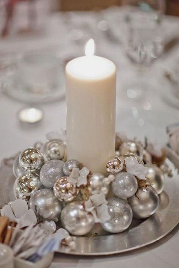 holiday winter wedding centerpiece