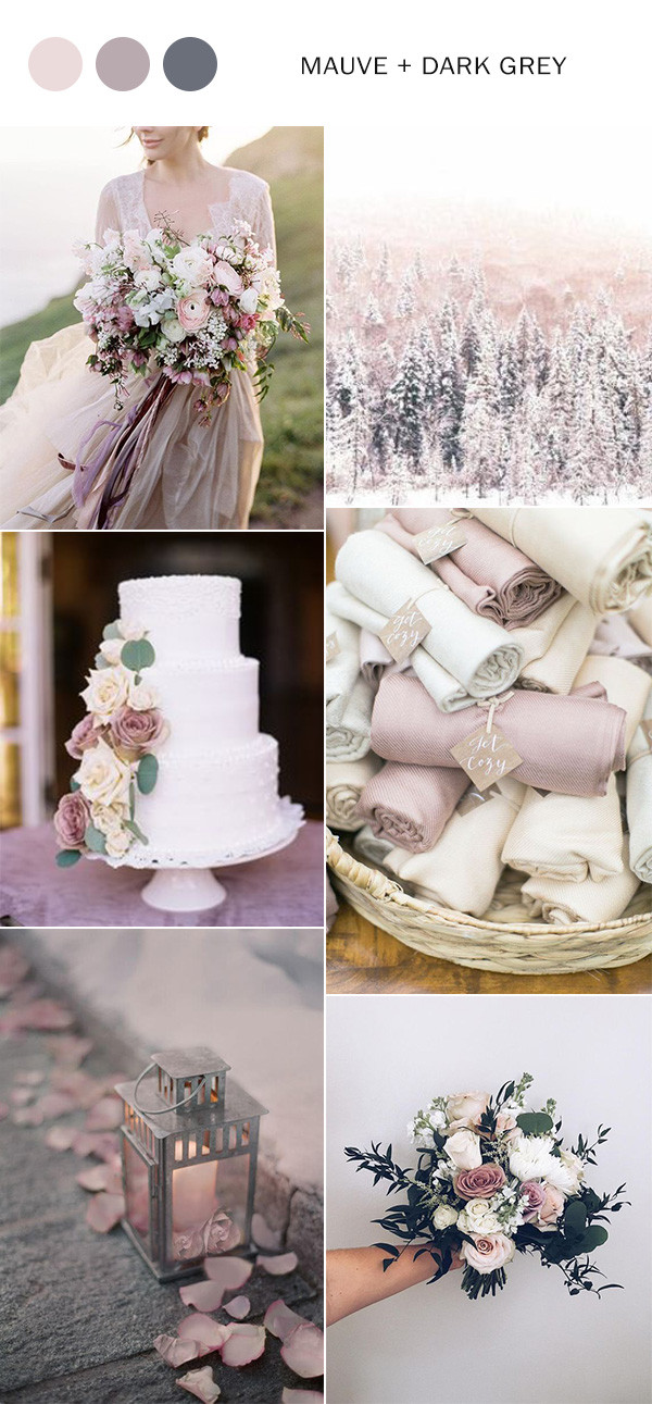 mauve and grey winter wedding color ideas