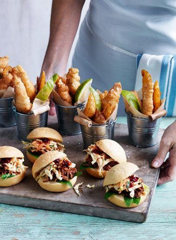mini hamburgers and fries wedding food ideas