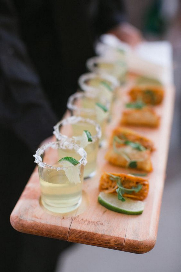 mini margaritas and tacos wedding finger food