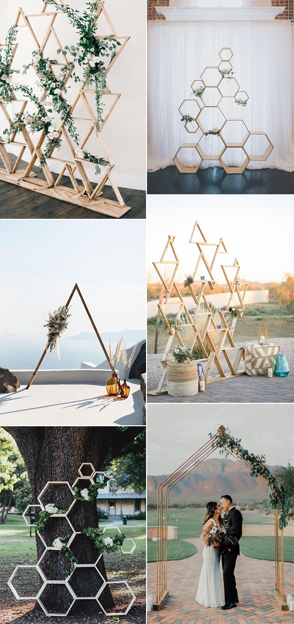 modern chic geometric wedding backdrops