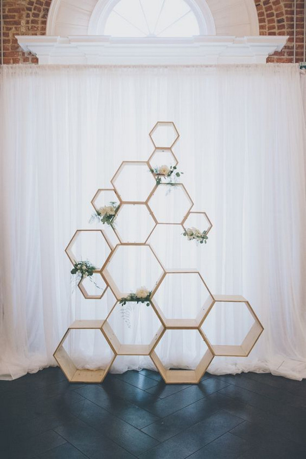 modern simple geometric wedding backdrop ideas