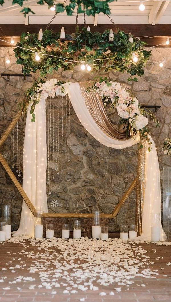 modern wedding backdrop ideas with hexagon and drapery