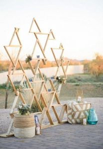 outdoor boho chic geometric wedding backdrop