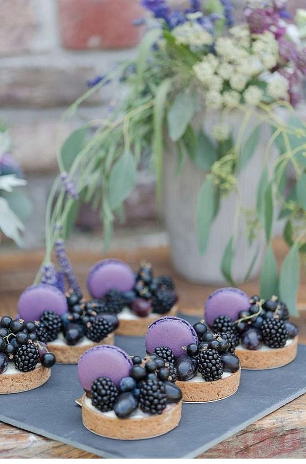 purple themed wedding mini dessert ideas
