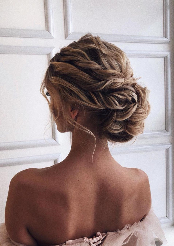 romantic updo bridal wedding hairstyle ideas