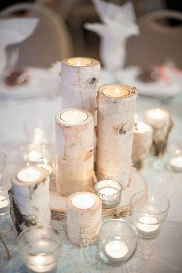 rustic winter wedding centerpiece ideas with candles