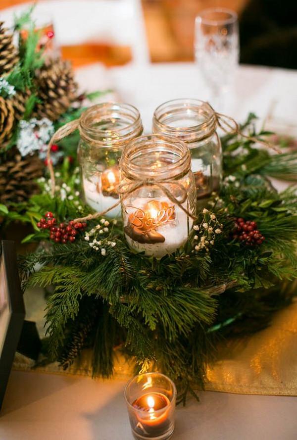 rustic winter wedding centerpiece ideas