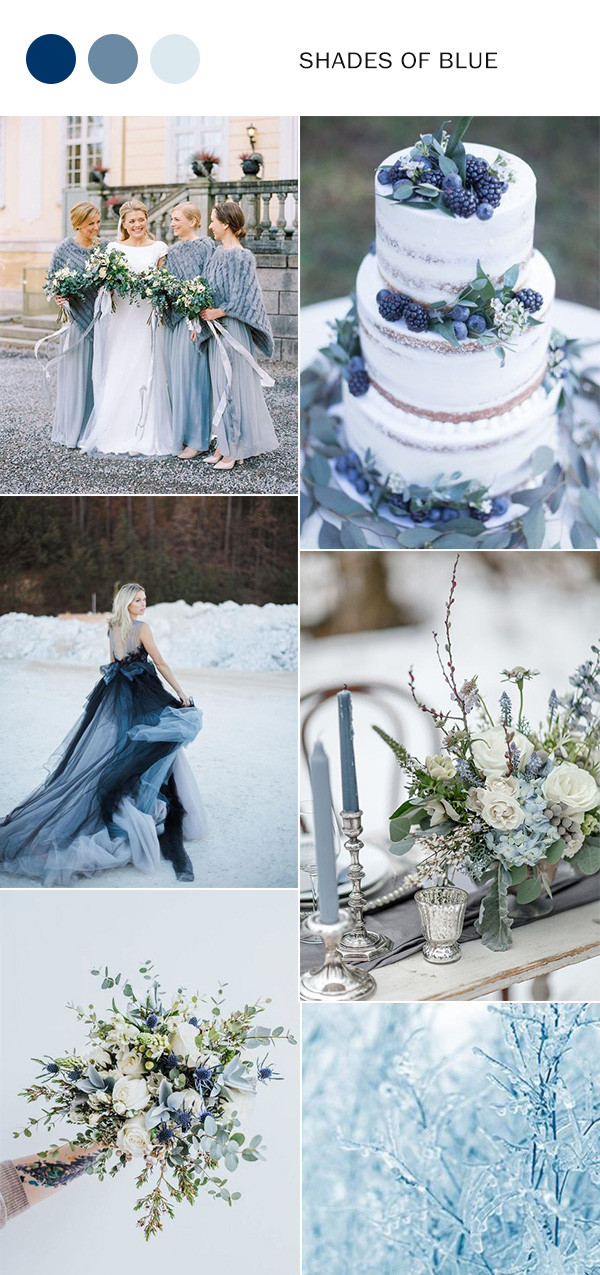 shades of blue winter wedding color ideas