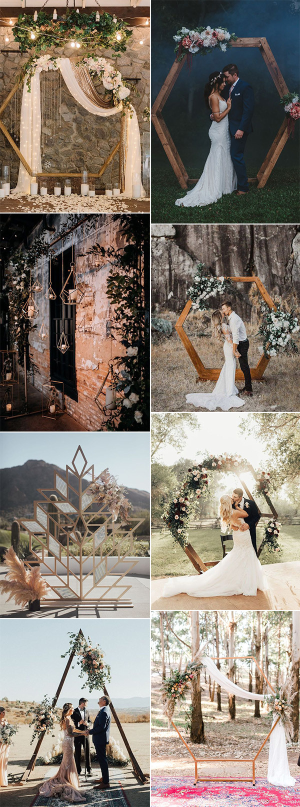 trending geometric wedding ceremony backdrop arch ideas