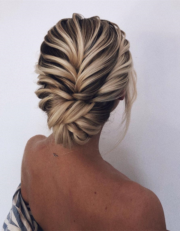 twisted romantic updo wedding hairstyles