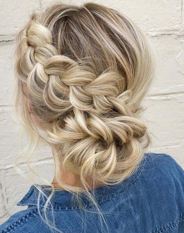 updo braided wedding hairstyle