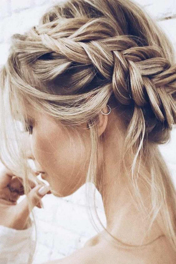 updo wedding hairstyle with braided crown