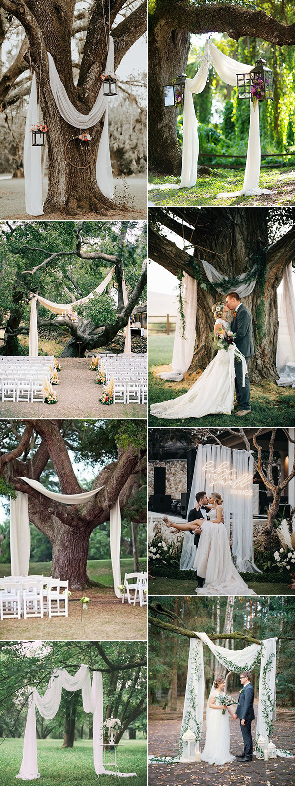 wedding ceremony arches with trees on a budget