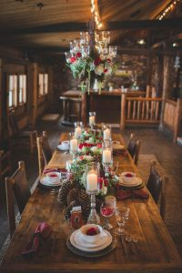 winter rustic wedding table settings