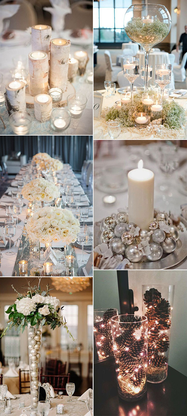 winter themed wedding centerpiece ideas
