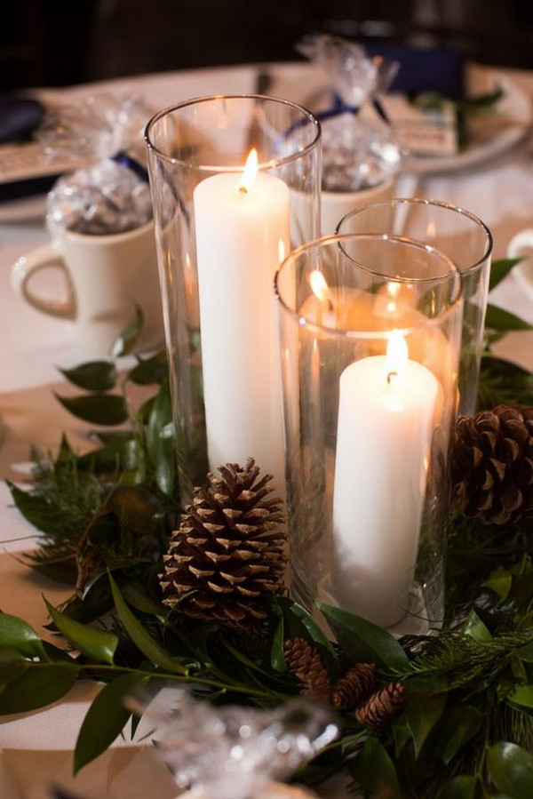 winter wedding centerpiece ideas with pinecone