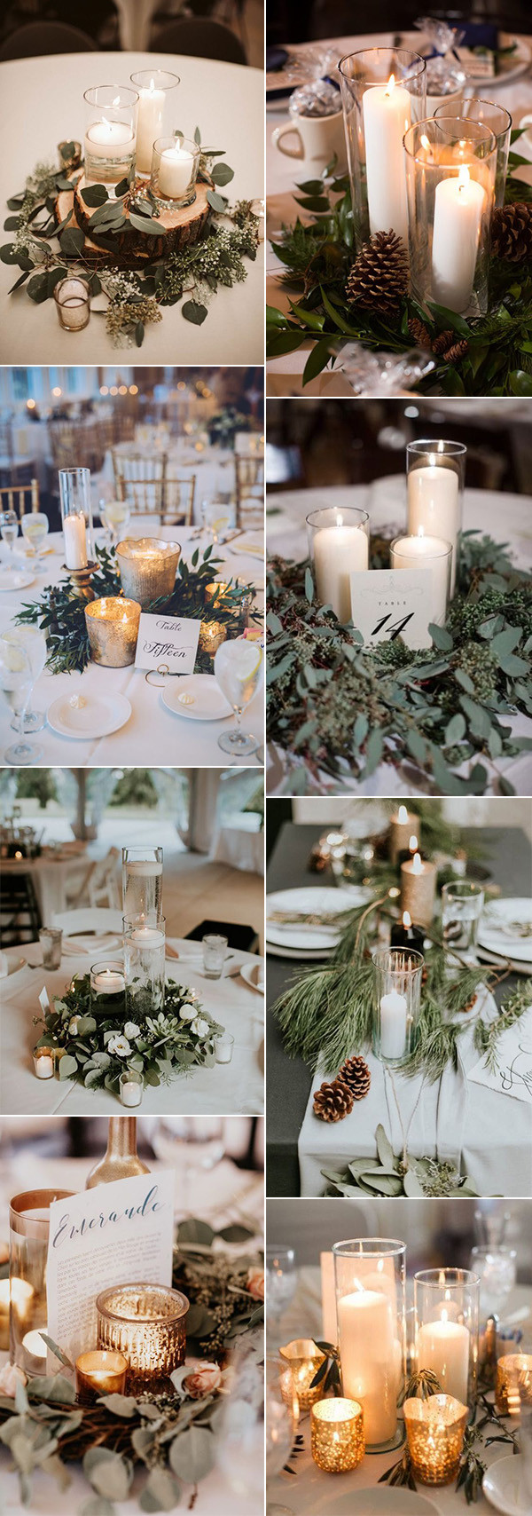winter wedding centerpieces with greenery and candles
