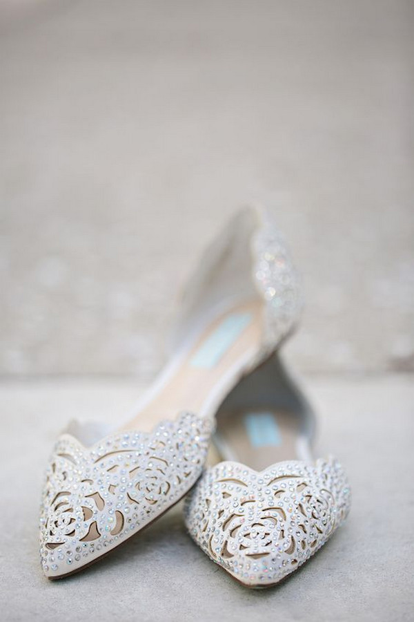 Betsey Johnson embellished bridal flats