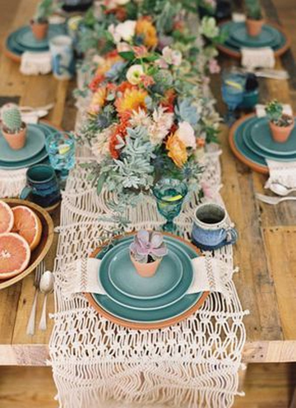 Mexican themed wedding table setting ideas