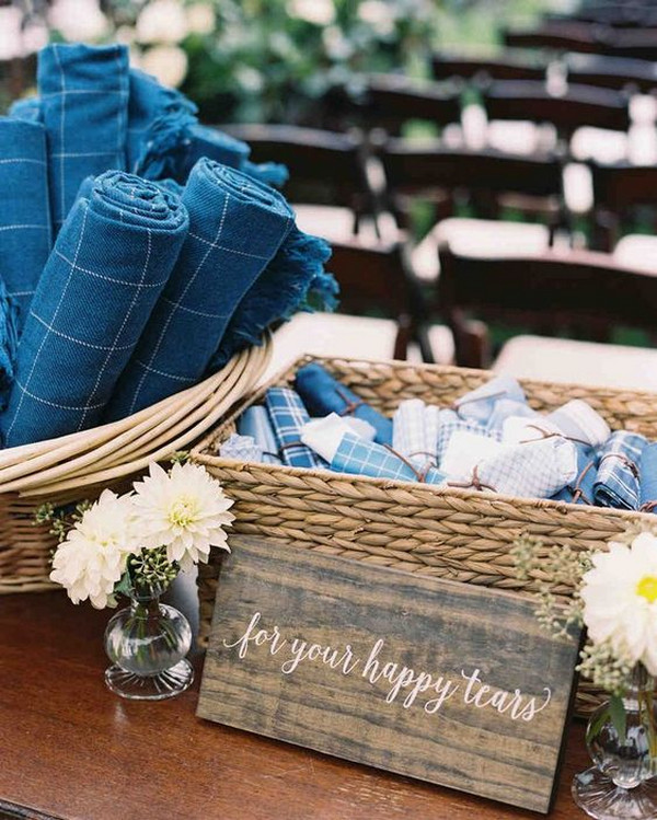 Outdoor Wedding Blankets and handkerchiefs set out for guests