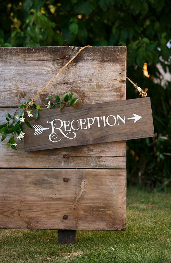 Rustic Chic Wedding Reception Wood Sign