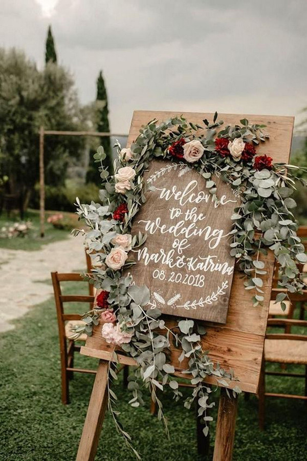 blush burgundy and sage green boho chic wedding sign ideas