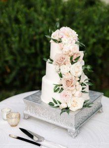 blush pink and green spring wedding cake